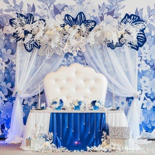 Синее оформление свадьбы в Angelo